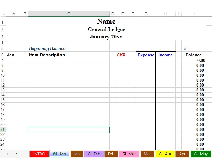 Free Church Accounting  General Ledger Form
