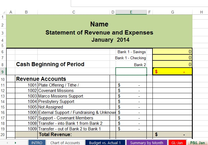 free non profit accounting spreadsheets
