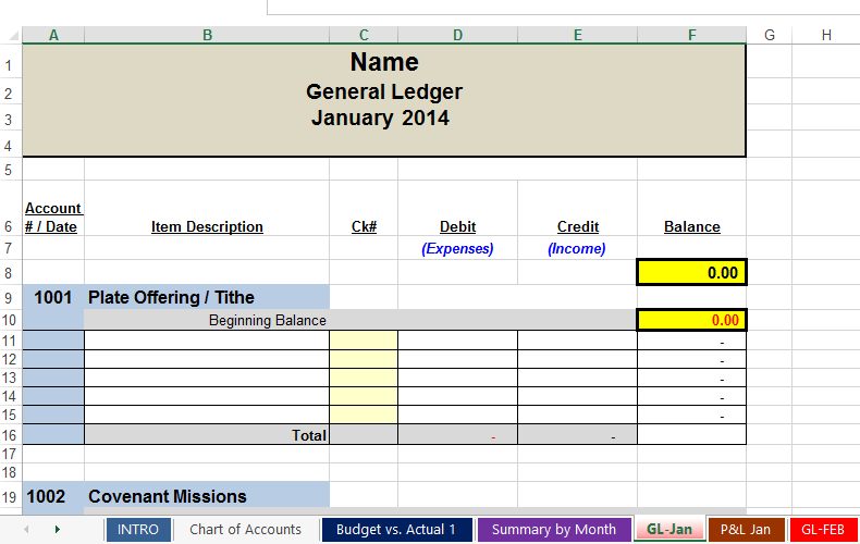 free spreadsheets to track church and non profit expenses