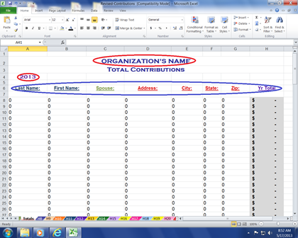 Contribution Tracking Workbook
