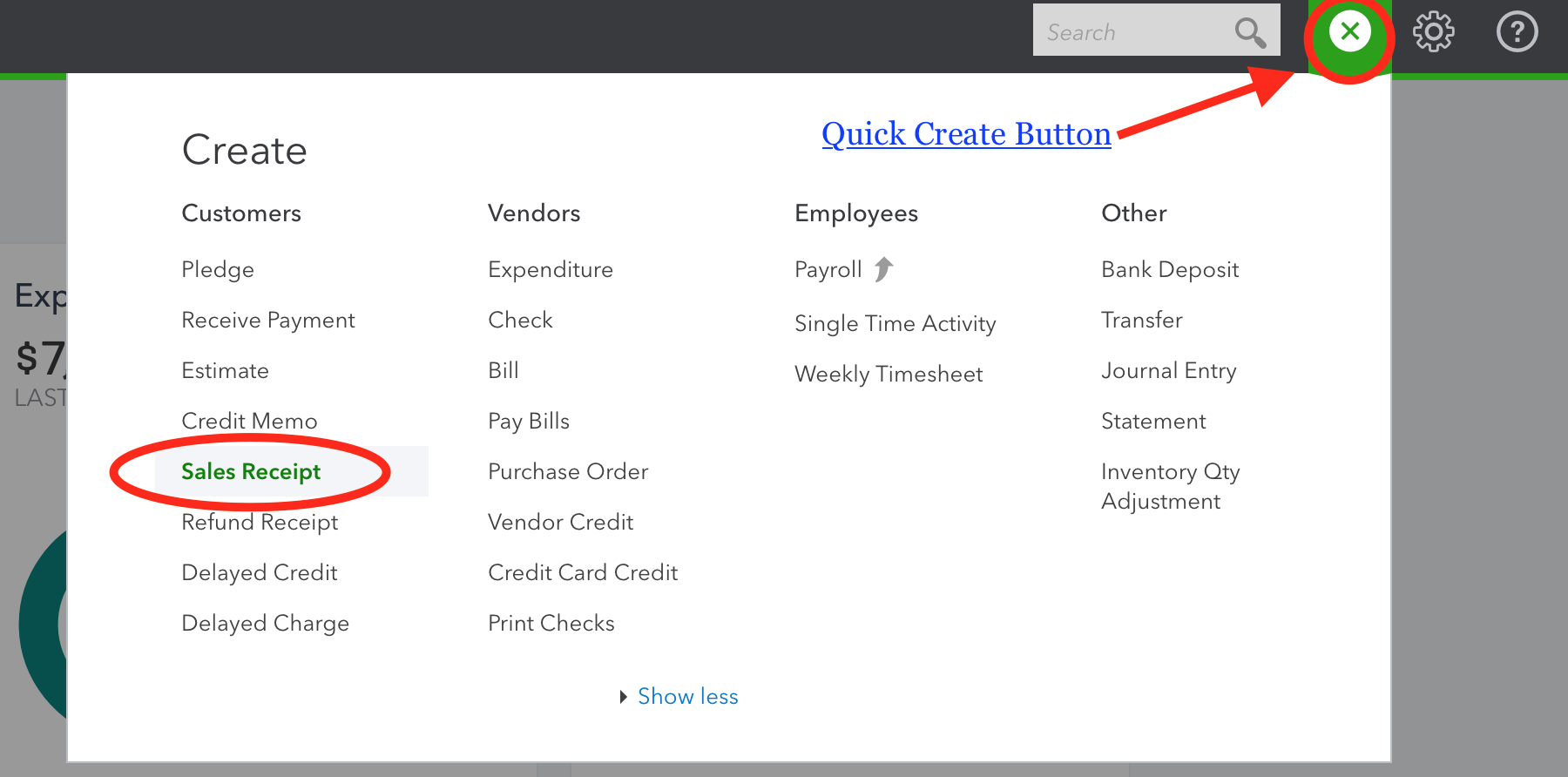 Using quickbooks for a church or nonprofit click the quick create button see image above click sales receipt enter the full donation fandeluxe Choice Image