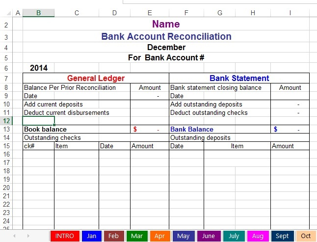 Bank Reconciliation Instructions