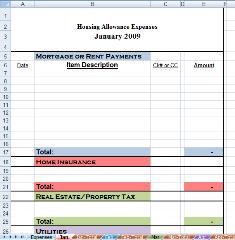 Housing Allowance Spreadsheet Instructions