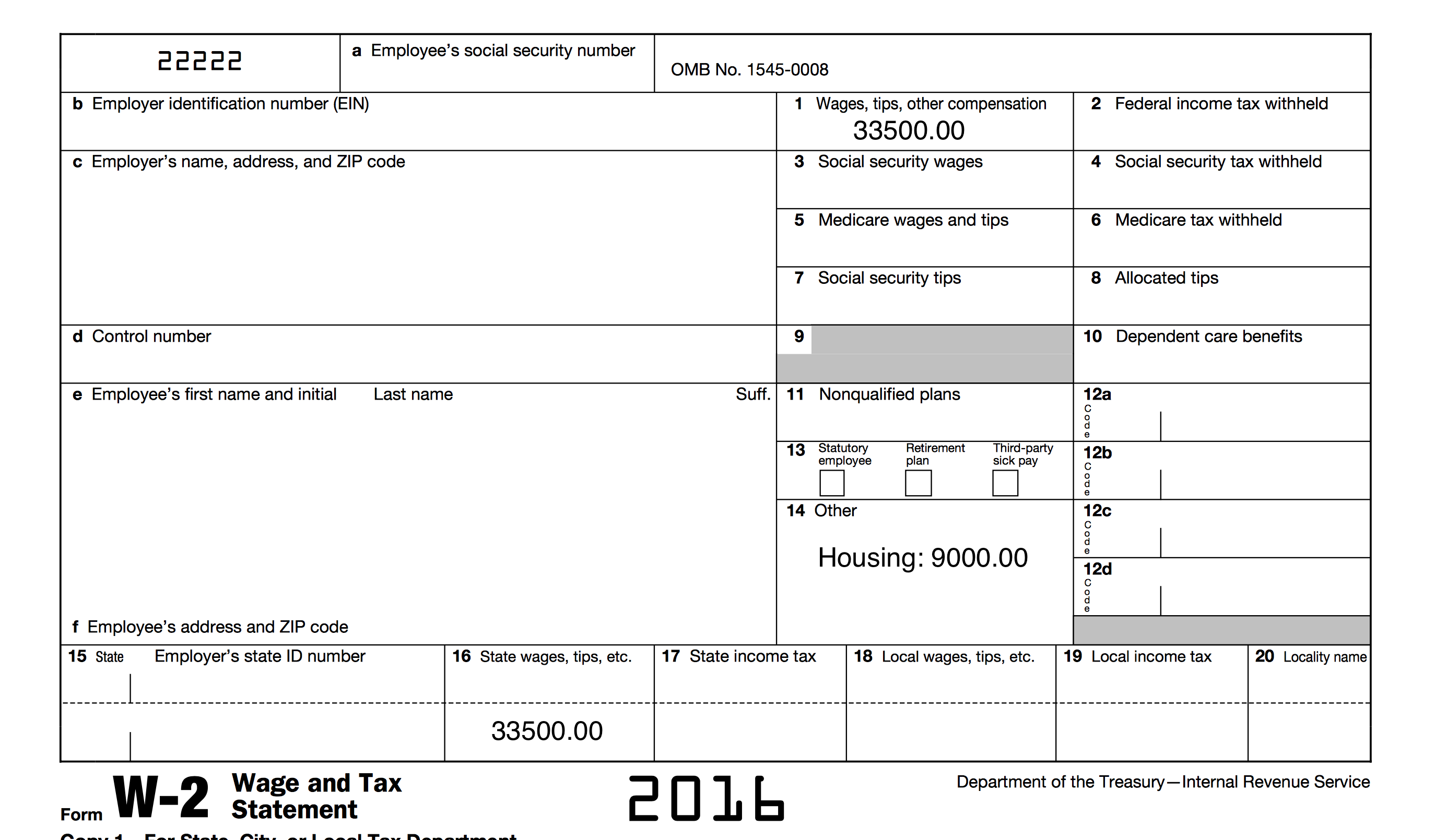 Example of Pastors W-2 Form
